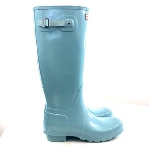Hunter 10 Pale Mint Blue Tall Gloss Welly Boots